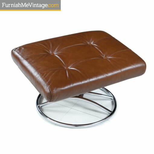 Ekornes chrome and leather ottoman