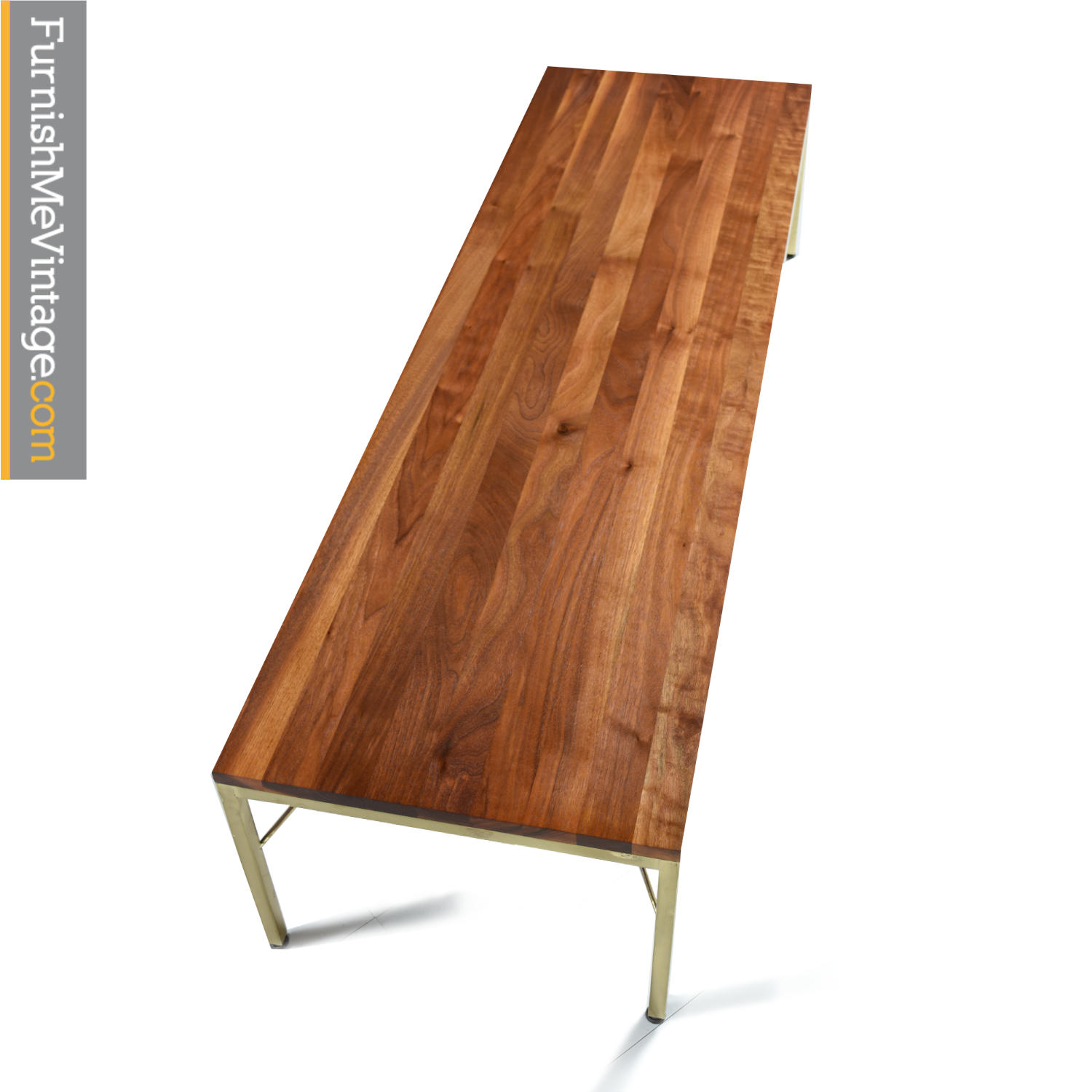 Picture of: Walnut Brass And Leather Mid Century Modern Coffee Table Bench Combo