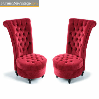 pink tufted slipper chairs