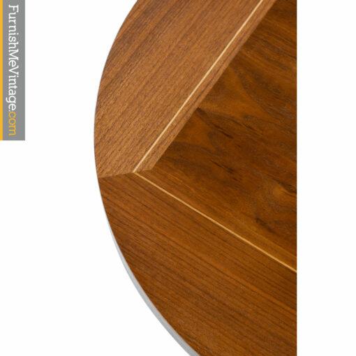 walnut mid century modern round side-table