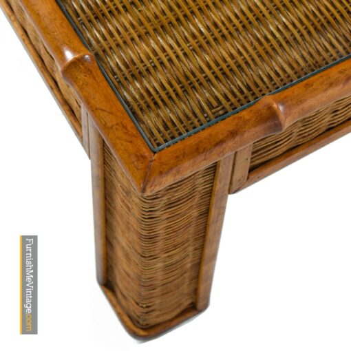 bamboo and wicker coffee table with glass