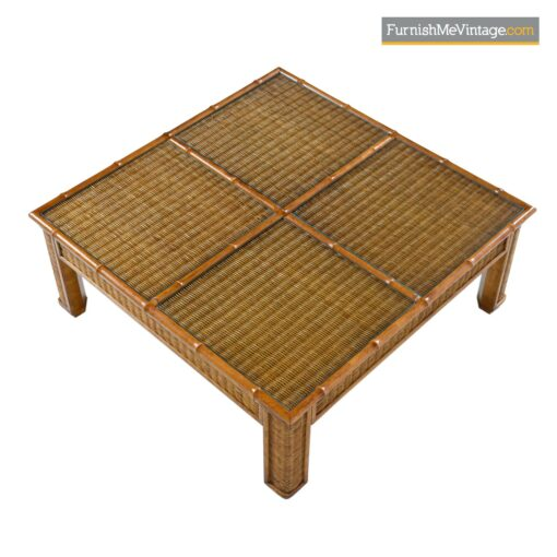 vintage bamboo and wicker coffee table