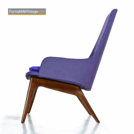 danish modern purple tweed armchair
