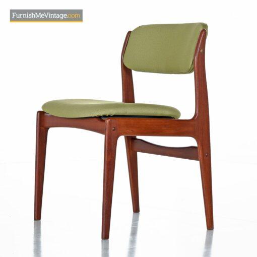 danish teak dining chairs green