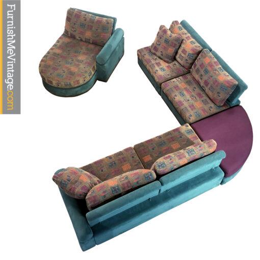 Dellarobbia teal and purple sectional sofa
