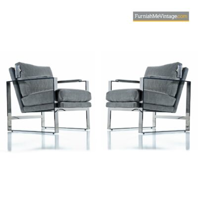 flat bar chrome modern lounge chairs