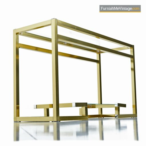 gold brass hollywood regency console