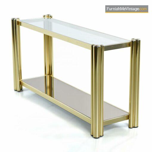 gold brass tubular modern console table