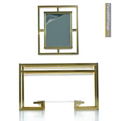 greek key gold mirror console