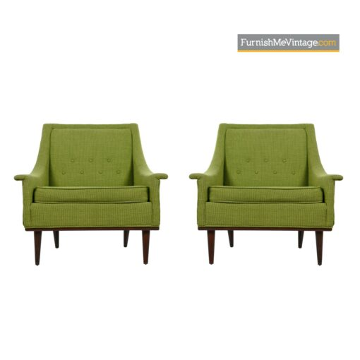 green tufted selig lounge chairs
