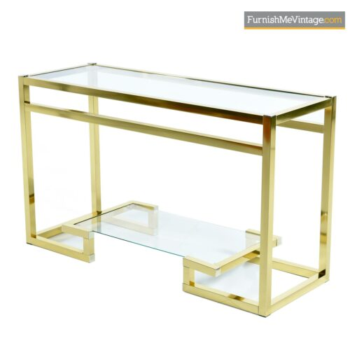 hollywood regency gold aluminum console