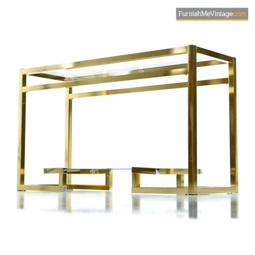 hollywood regency gold brass console