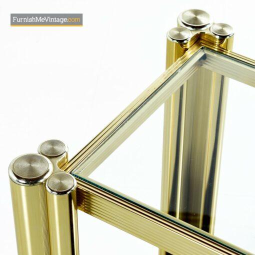 hollywood regency gold brass sofa table