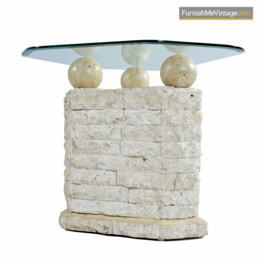 mactan stone orb shell cocktail tables