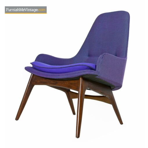 mid century modern armchair purple tweed