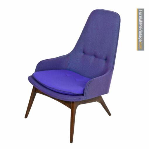 modern retro armchair purple tweed