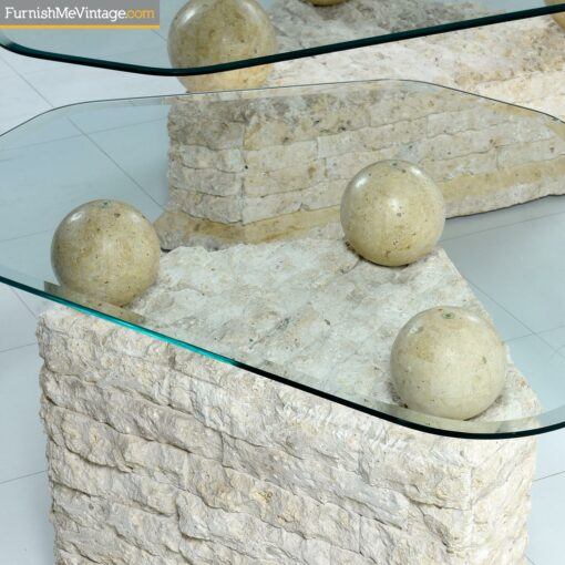 stone orb glass coffee table set