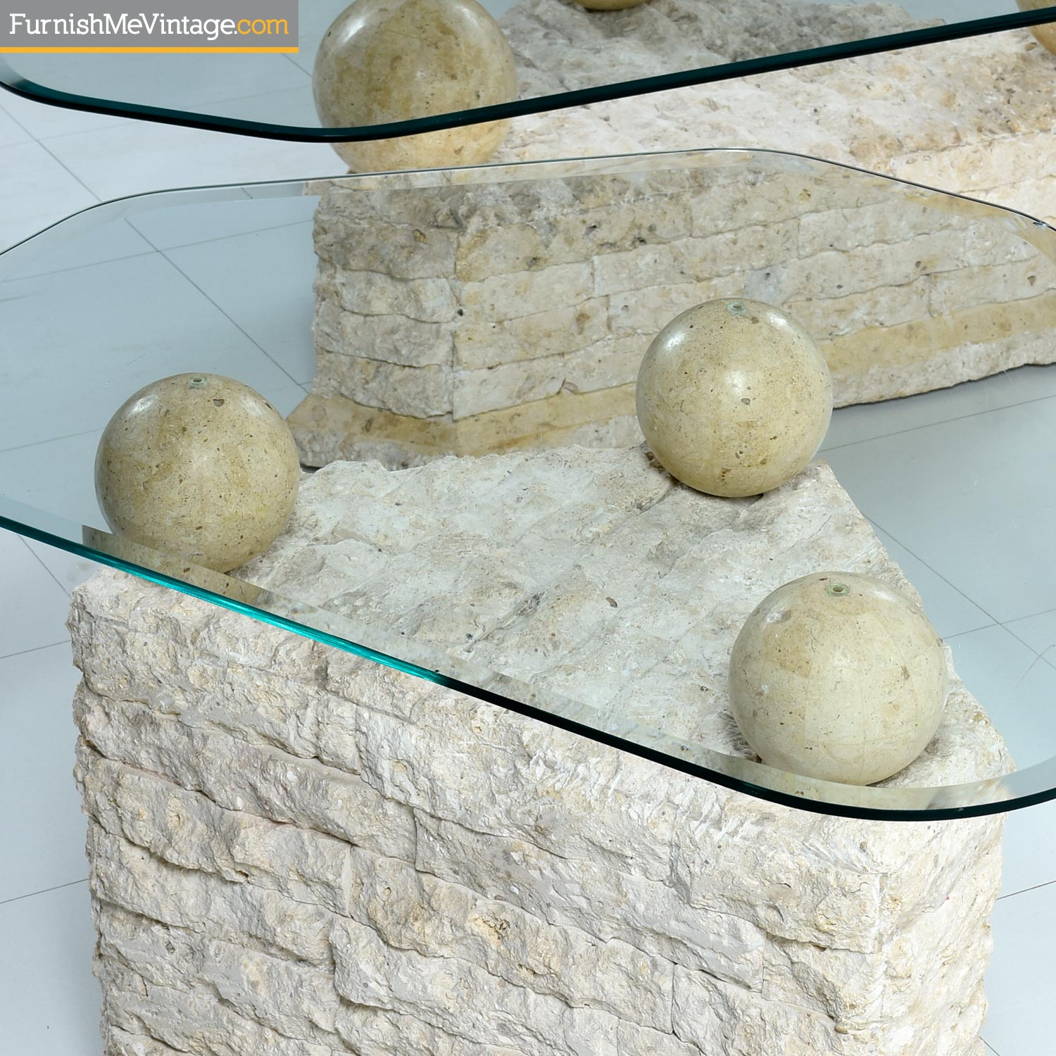 Maitland Smith Style Mactan Tessellated Stone End Tables