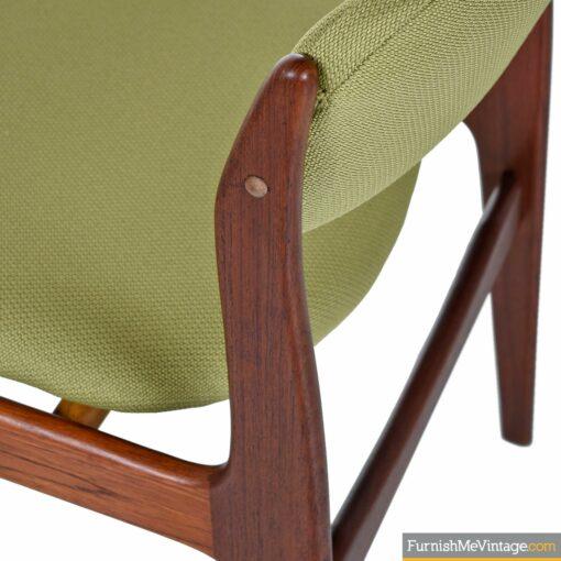 teak danish green tweed chairs