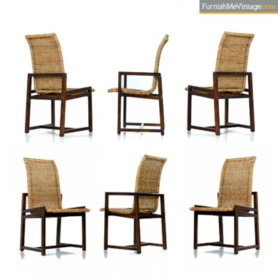 70s modern cane dining chairs