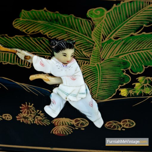 asian lacquer pearl inlay figure dresser
