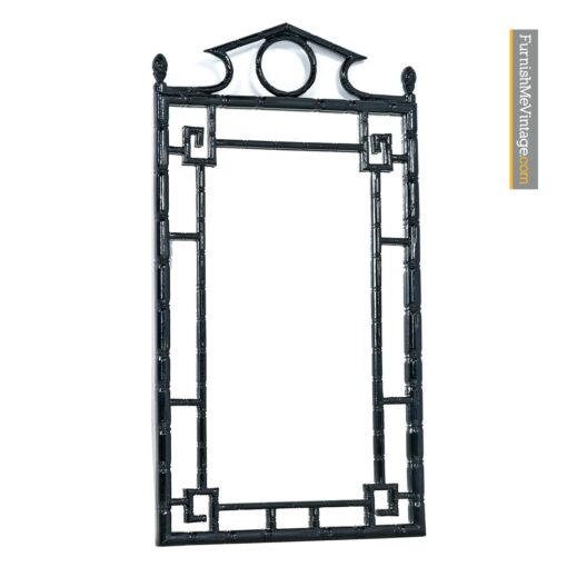 asian modern black lacquer mirror