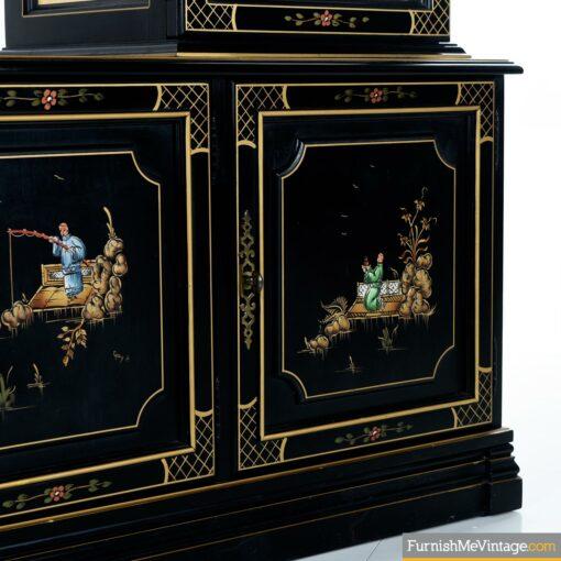 black lacquer oriental cabinet hutch