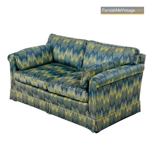 blue green chevron fabric baker sofa