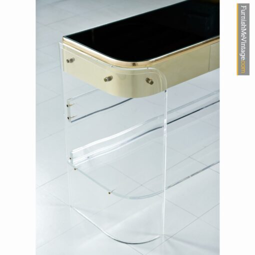 brass lucite console sofa table