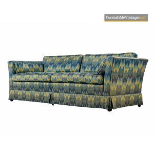 Blue Flame Stitch Jack Lenor Larsen Style 1970s Baker Sofa