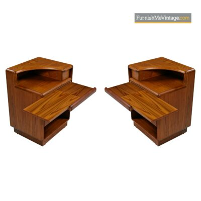 danish teak curved top nightstands