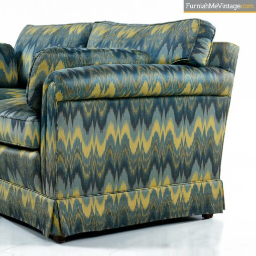 green yellow blue chevron baker sofa
