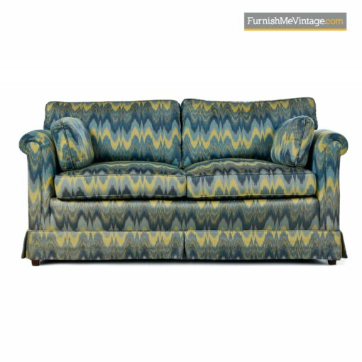 green yellow teal baker loveseat sofa