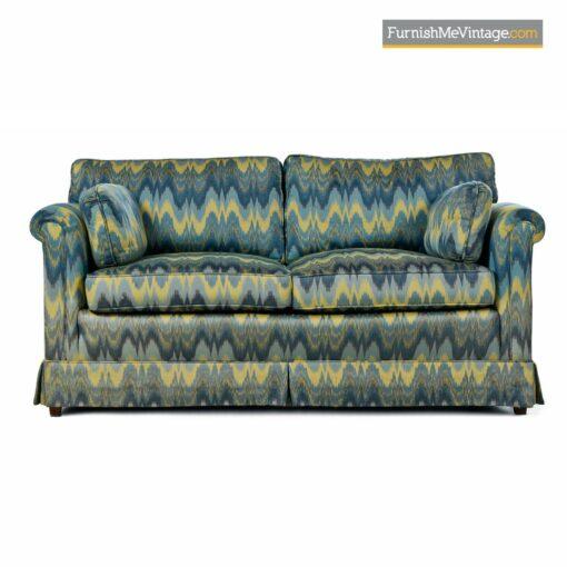 green yellow teal baker loveseat sofa