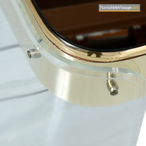 hollywood regency brass lucite console