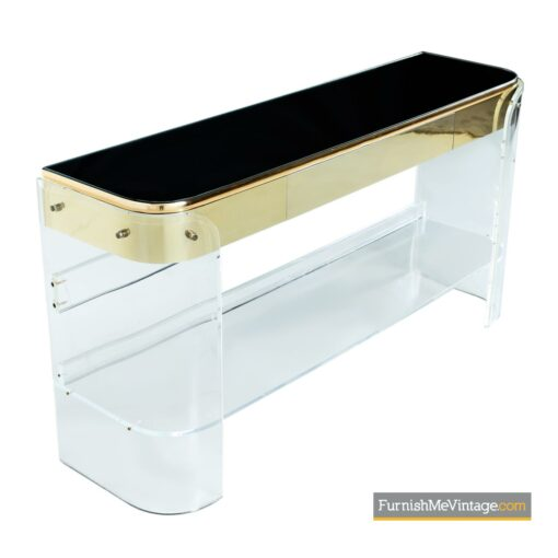 lucite brass mirrored console sofa table