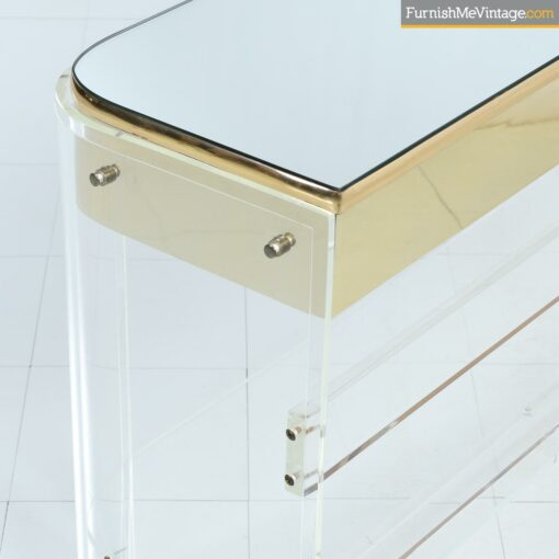 lucite sofa table brass mirrored console