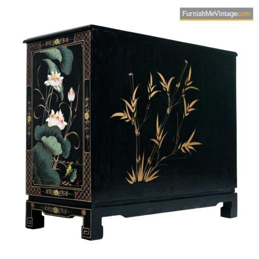 mid century black lacquer oriental dresser