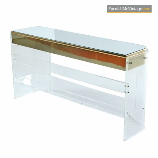 mirrored top brass acrylic console table