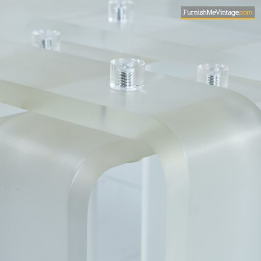 modern frosted lucite ribbon coffee table