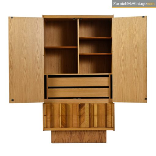 oak burl rosewood brutalist armoire