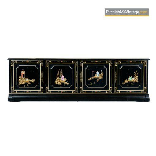 oriental gilt black lacquer credenza