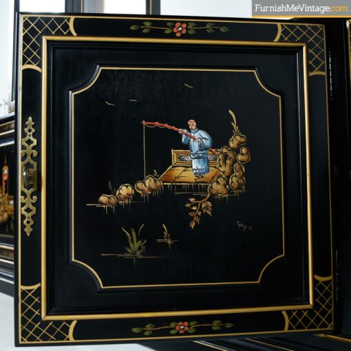 oriental painted hutch black lacquer