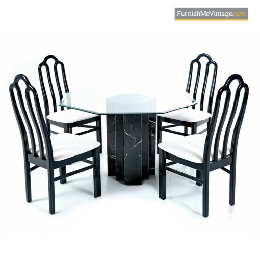 asian modern dining table black marble