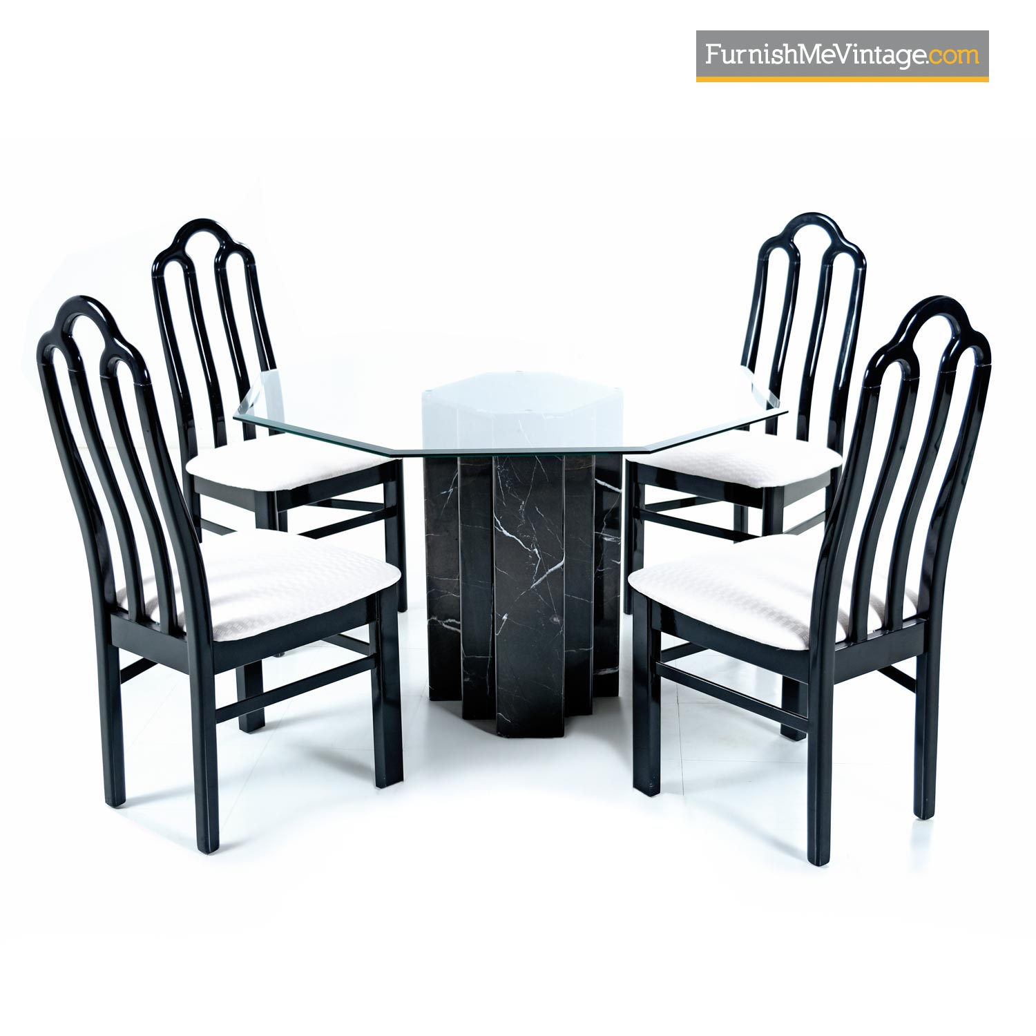 Italian Black Marble Pedestal Table With Lacquer Chairs Dining Set