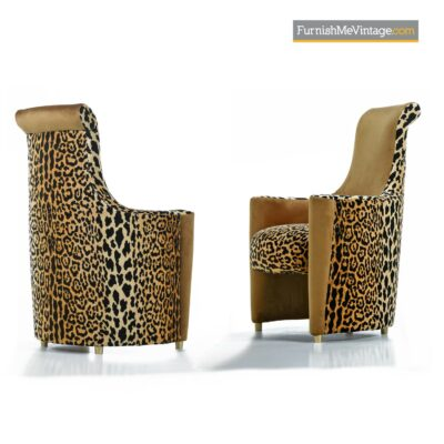 leopard print art deco modern chairs