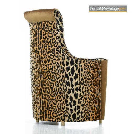 leopard velvet gold highback chairs