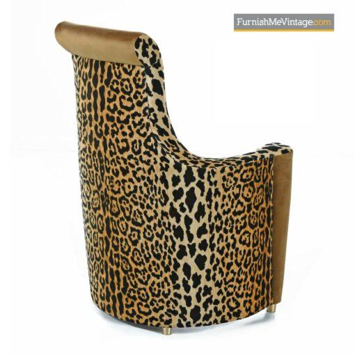 scroll back leopard print art deco chair