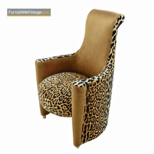 velvet-leopard-print high back armchairs