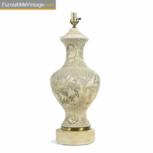 ceramic chalkware oriental lamp